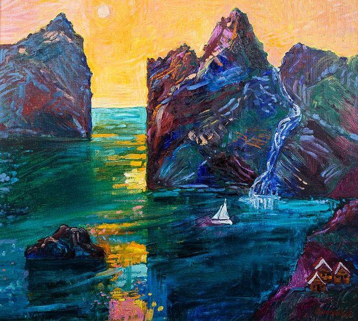 Jan Szancenbach - Pejzaż norweski z łódką, 1997 r. olej, płótno, 87 × 97 cm sygn. p.d.: Xancenbach