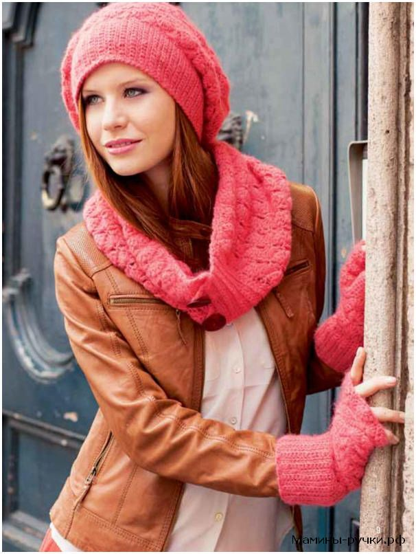 """Вязаный крючком комплект """"Мягкий"""": шапка, шарф и митенки (crochet set soft)"""