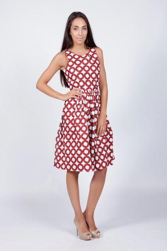 Red Print dress Red Dress