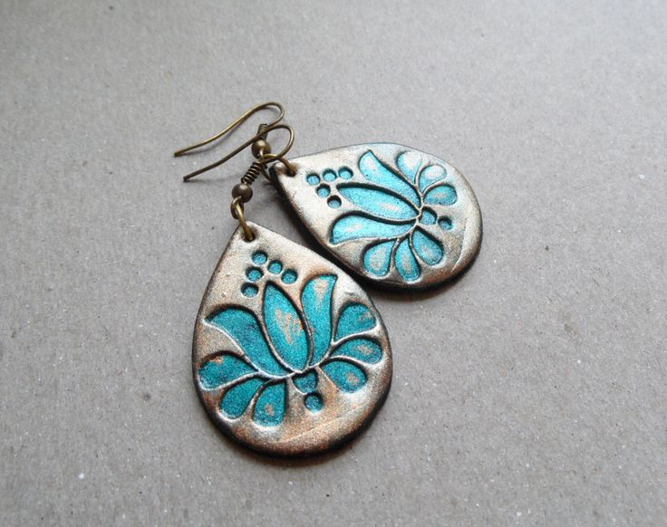 Tulip earrings, polymer clay jewelry, Hungarian Kalocsai embroidery pattern, modern tradition, verdigris. 18.00, via Etsy.