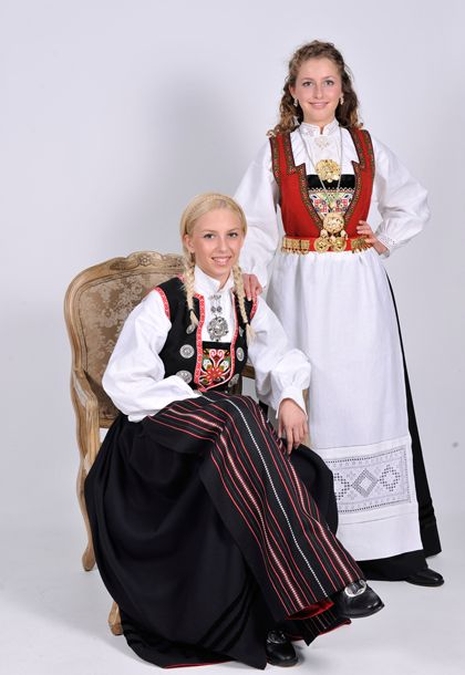 "Traditional Hardanger costumes from Kvam municipality. ""Bunad"" in Norwegian."