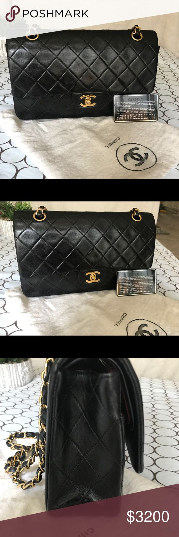 Chanel medium lambskin shoulder bag Great condition. It has been stored using protection, but there is a mark inside the flap due to string position. Certification card included. CHANEL Bags Shoulder Bags