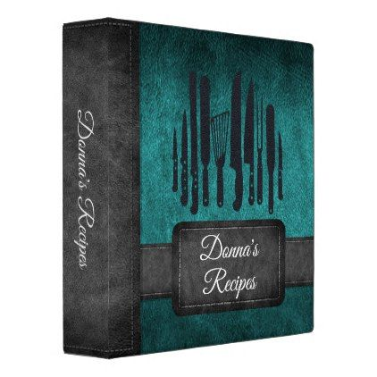 Recipe Album Teal Black Faux Leather Binder - home gifts ideas decor special unique custom individual customized individualized