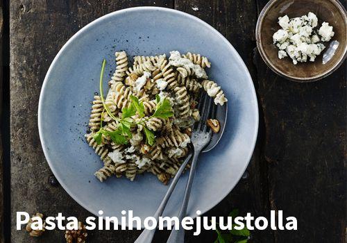 Pasta sinihomejuustolla, resepti: Urtekram #kauppahalli24 #pasta #sinihomejuusto #verkkoruokakauppa
