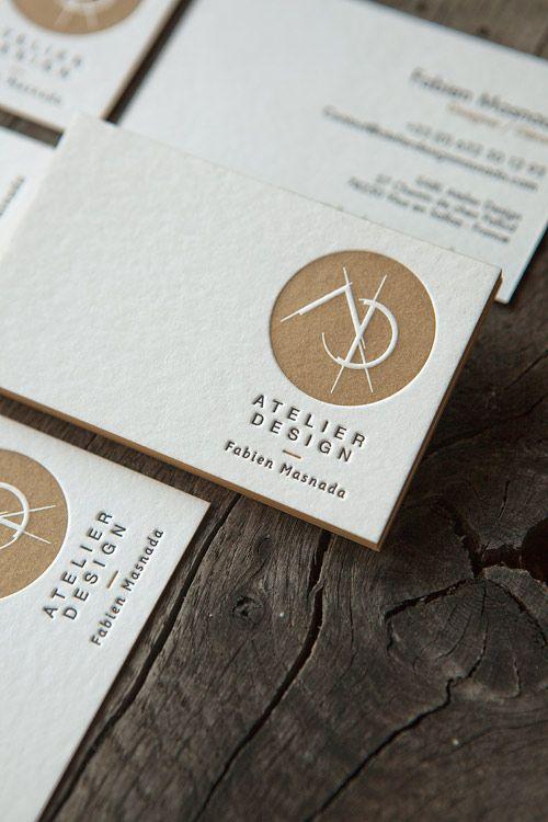 Impression pantone métallique 874U et noir en recto verso sur buvard blanc naturel 500g / business cards in metallic pantone 874U and black