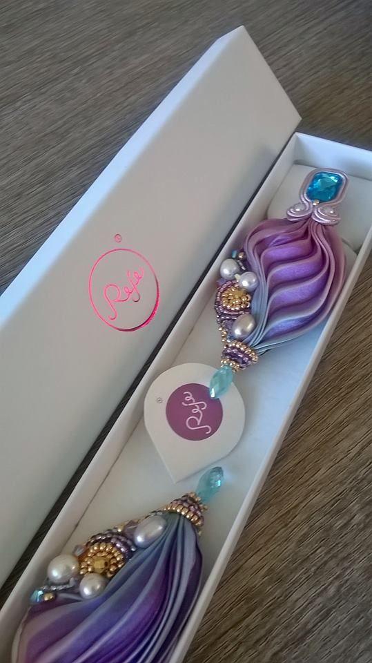 Shibori silk earrings in aquamarine and purple. Entirely hand-sewn by Reje, Italian jewelry designer