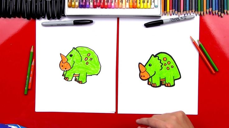 How To Draw A Cartoon Triceratops (Art Clubleden)