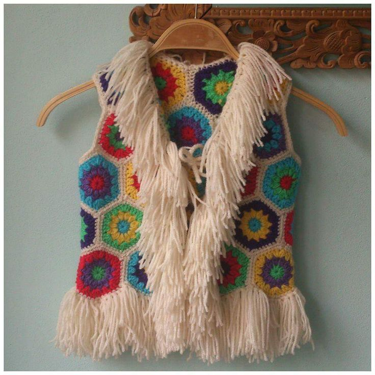 Chaleco con flecos crochet vest with fringe