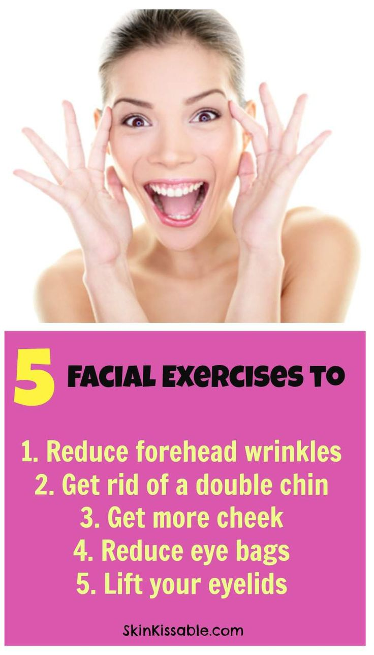 Facial yoga for forehead wrinkles, cheeks, eye bags, double chin & eyelids. Practice daily anti aging face exercises to lift the skin.