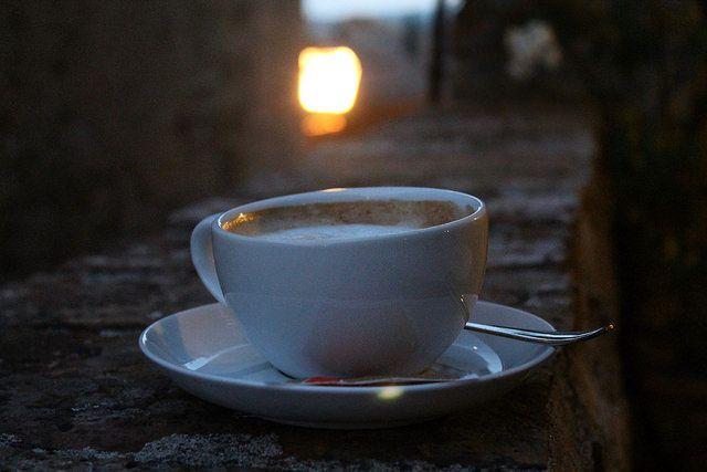 A cappucino in San Gimignano at dusk