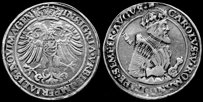 Nijmegen  -  The Imperial City of Carolus Magnus  (Charlemagne)   Thaler with Carolus Magnus  and the imperial eagle.   The Nijmegen thaler originally carried the image of St. Etienne.    .coingallery.