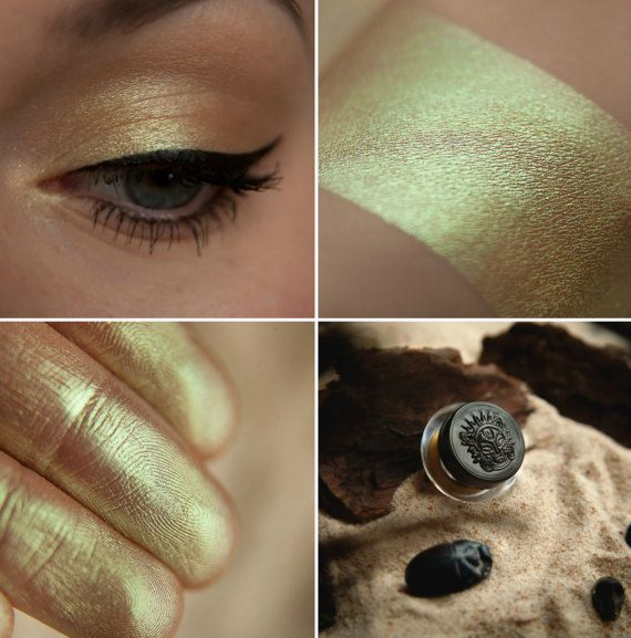 Eyeshadow: Messing with scarabs- Nomad. Sandy-green satin eyeshadow by SIGIL inspired.
