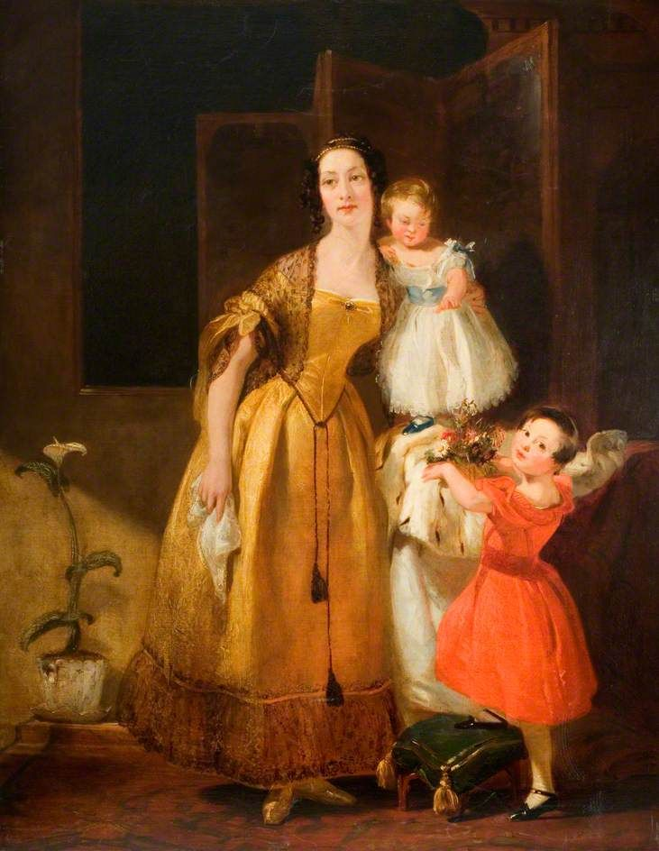 Mrs John Prescott Knight and Her Children by John Prescott Knight, ca 1837 England, the Shire Hall Gallery  A portrait by the Stafford-born artist probably of his wife, Clarissa Isabella Knight (nee Hague,) and their two sons Albert Stanley (1832–1917) and Julian Miles (1835–1871).