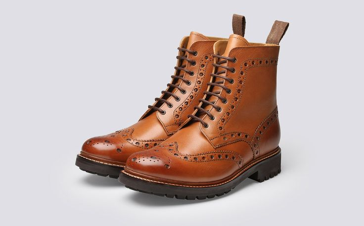Mens Brogue Boot in Tan Alpine Grain Leather with a Commando Sole | Fred | Grenson Shoes - Three Quarter View
