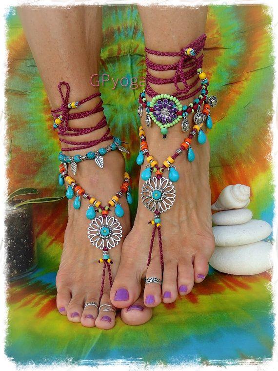 Türkis Tropfen Sonnenblume barfuss Sandalen Hippie FESTIVAL Sandale Cowgirl Toe Riemen wickeln Anweisung Fuß häkeln Fußschmuck tragen GPyoga