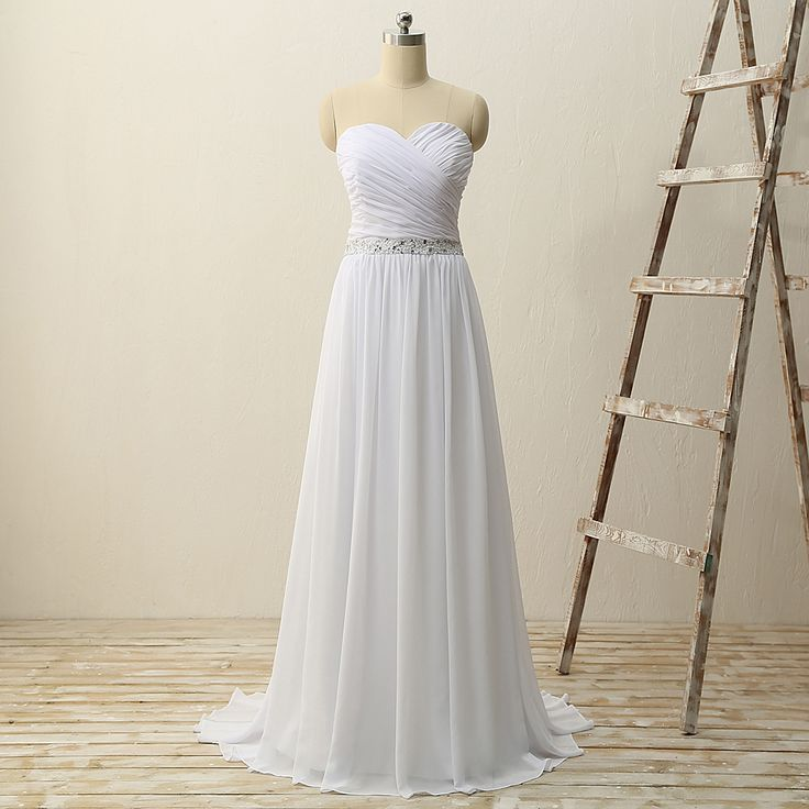 Sweetheart pleat chiffon beading waist zipper back simple bridal dresses for beach wedding