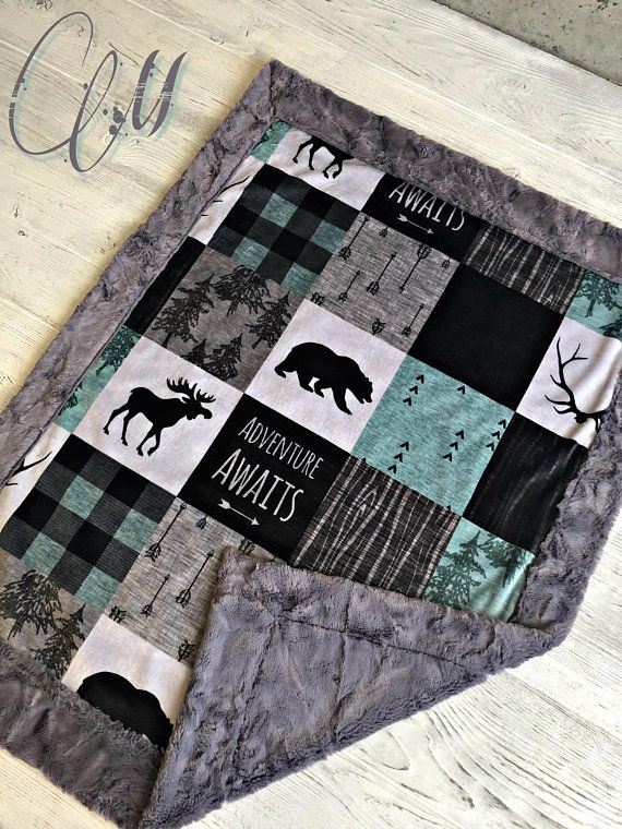 Adventure Awaits Quilt Moose Bear Blue Navy Gray Grey Woodland Quilt Baby Boy Crib Bedding Minky Baby Blanket Patchwork Baby Quilt