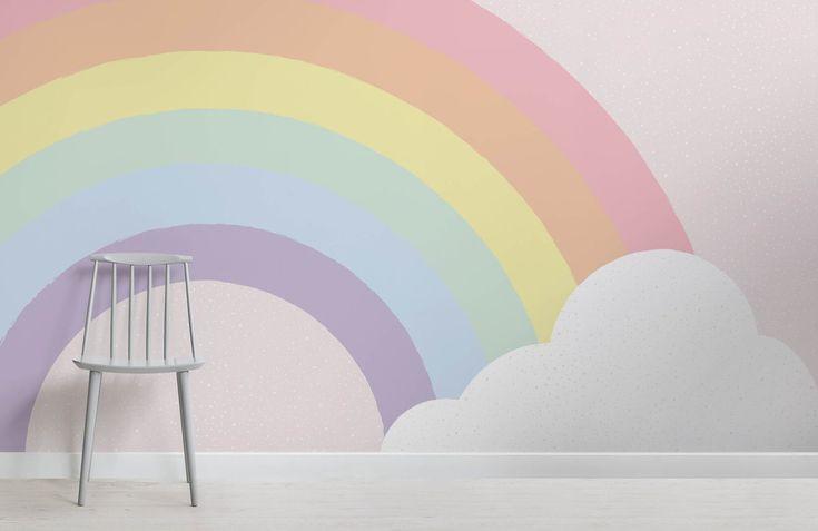 Kinder Pastell Regenbogen Wandtapete