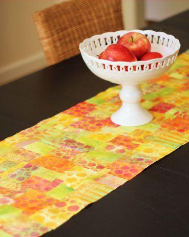 How fun! Make a table runner using mixed-media art techniques. Art Lesson by Jenny Cochran Lee, via ClothPaperScissors.com. #DIY #mixedmedia #art #creative #crafty