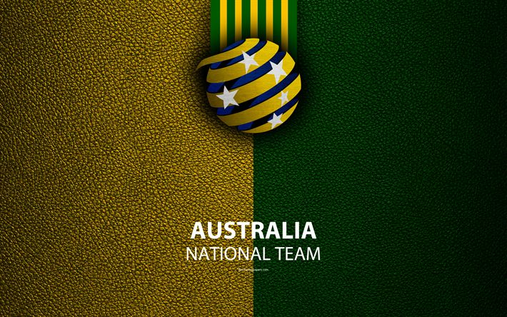 Download wallpapers Australia national football team, 4k, leather texture, emblem, Football Federation Australia, FFA, logo, Asia, Football, Australia