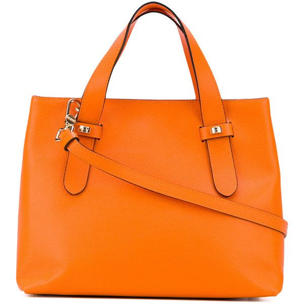 Borbonese double handle tote bag ($315) ❤ liked on Polyvore featuring bags, handbags, tote bags, leather tote purse, handbags totes, genuine leather tote, orange tote and tote purses