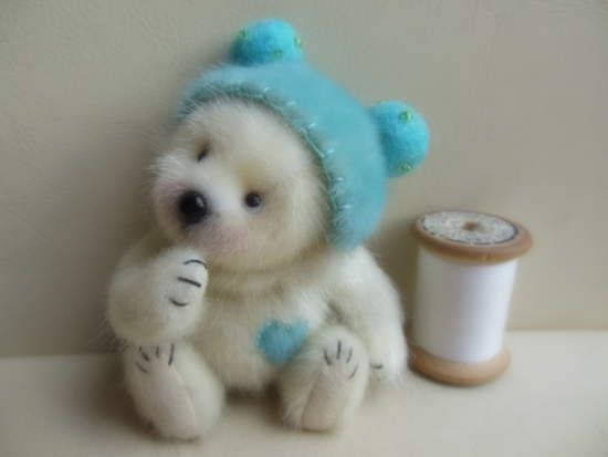 cute little white felted bear
