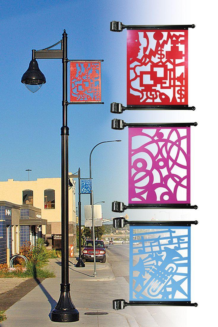 decorative site lighting architectural luminaire street post pedestrian, custom laser banners, LED ANP;