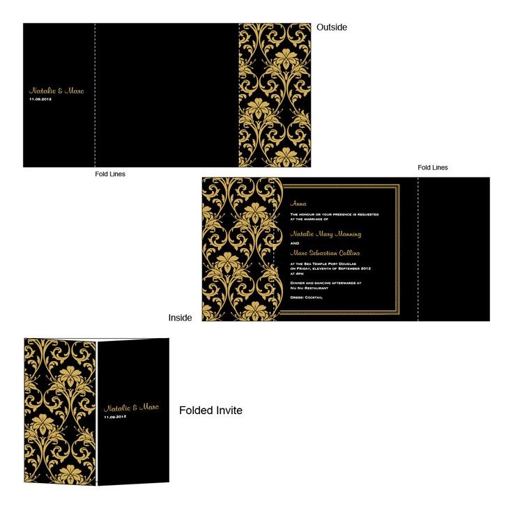 Black Gold Flourish Vintage Wedding Invitation