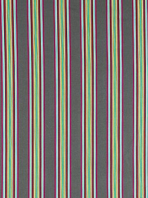 Turquoise Grey Stripe Fabric Multicolored by PopDecorFabrics