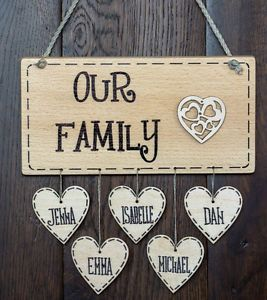 Personalised Wooden Family Name Birthday Mum House Warming gift ...