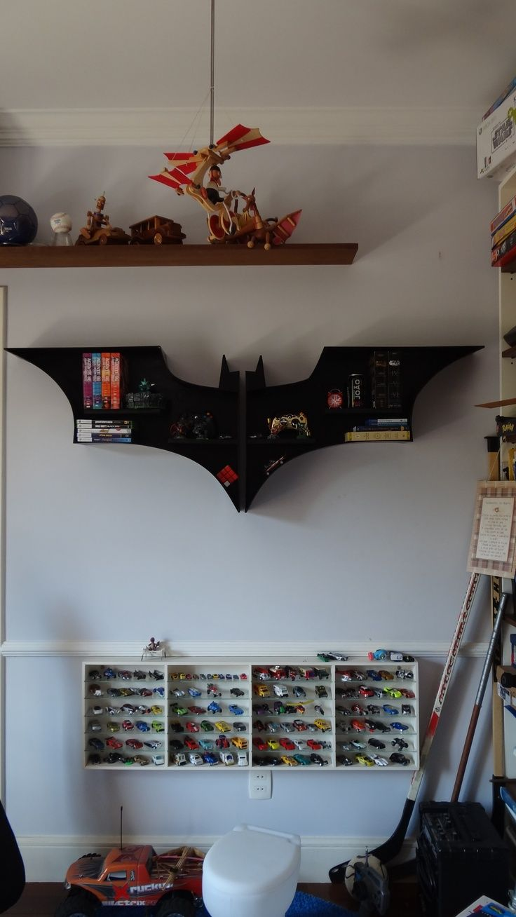 Decoration Creative Dark Batman Logo Shaped Wallmounted Toys Racks For Children Bedroom Furniture Decor Amazing Batman Kids Bedroom Decor Ideas