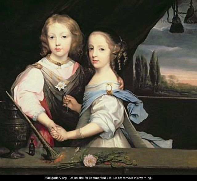 Portrait of Winston and Arabella 1648-1730 Churchill children of Sir Winston Churchill - Sir Peter Lely