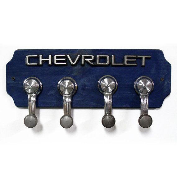 Chevrolet Coat Rack Chevy Hat Rack with 4 Chrome by StarlingInk