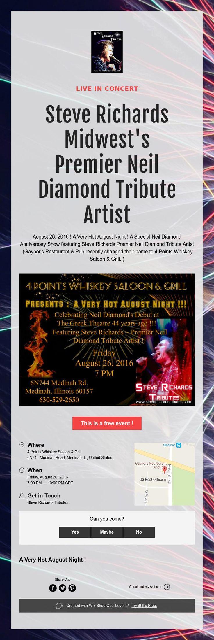 Live in Concert !Steve Richards Midwest's PremierNeil Diamond…
