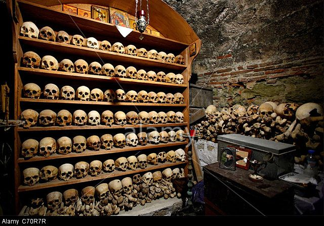 The ossuary with skulls of dead monks in the Great Meteoron monastery, Meteora, Greece + + + Κύριε Ἰησοῦ Χριστέ, Υἱὲ τοῦ Θεοῦ, ἐλέησόν με + + + The Eastern Orthodox Facebook: https://www.facebook.com/TheEasternOrthodox Pinterest The Eastern Orthodox: http://www.pinterest.com/easternorthodox/ Pinterest The Eastern Orthodox Saints: http://www.pinterest.com/easternorthodo2/