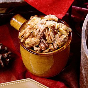 Orange Glazed Pecans -- Roast pecans in a mixture of orange juice concentrate, sugar, and cinnamon for a sweet and tangy appetizer or snack that's perfect for the holidays