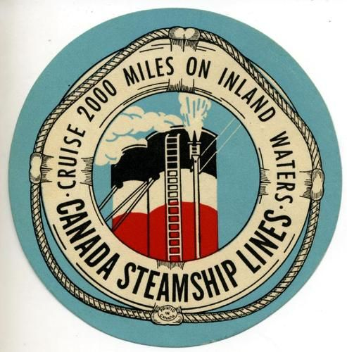 Canada steamship lines great old art deco luggage label