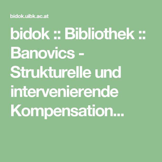 bidok :: Bibliothek :: Banovics - Strukturelle und intervenierende Kompensation...