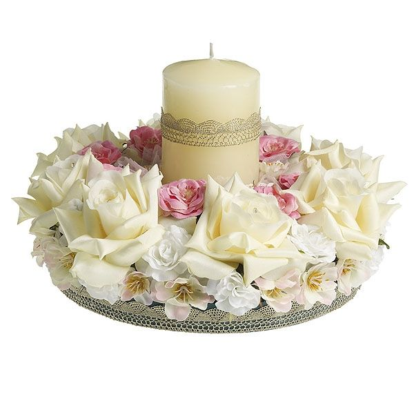Ivory & Pink Floral Candle Table Centrepiece