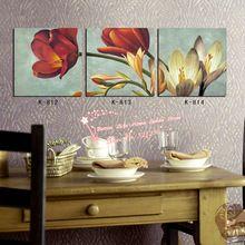 modern duvar sanatı ev dekorasyon baskılı yağlıboya resimler 3 adet soyut klasik haşhaş zambak orkide yemek odası dekor(China (Mainland))