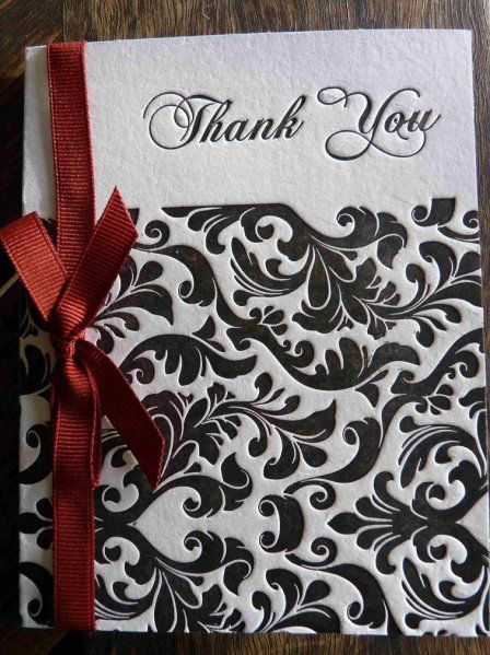 Letterpress damask Thank You Card