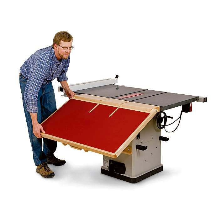 How to build a fold down outfeed table to upgrade your table saw.