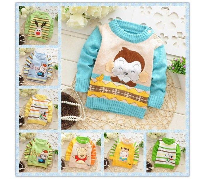 Очень милый свитер для ребенка с рисунками разных зверюшек