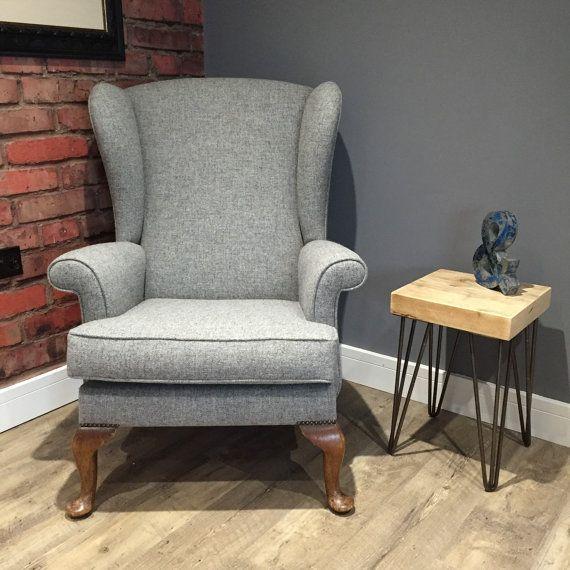 Vintage Parker Knoll Wingback Upholstered in Light Grey by ReFrmd