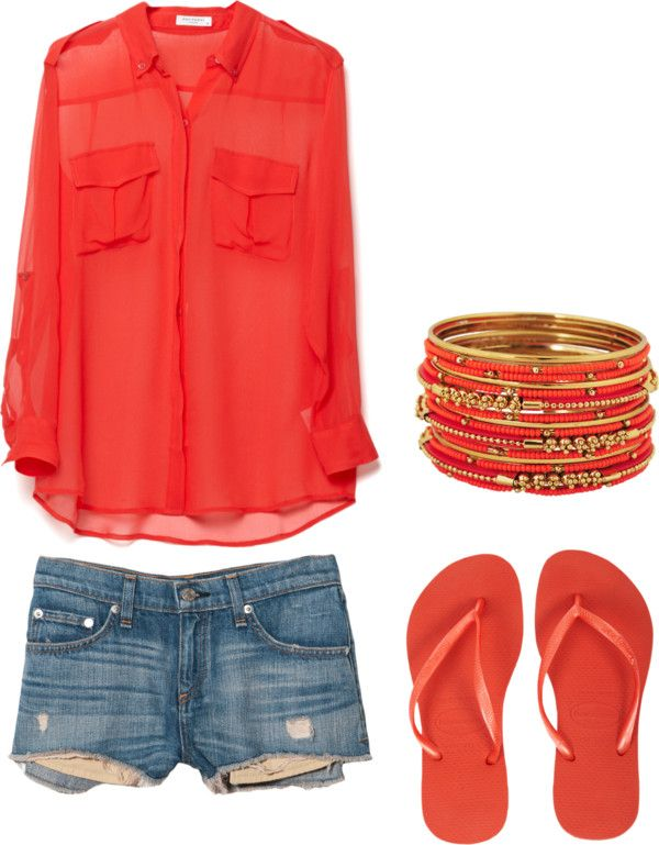 color: Casual Summer, Shirts, Summer Style, Coral Outfits, Summer Outfits, Jeans Shorts, Spring Outfits, Bright Colors, Summer Clothing