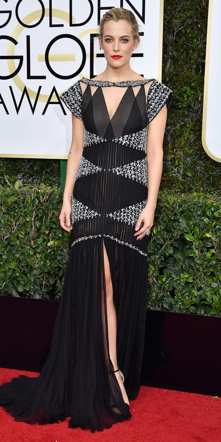 All the Glamorous Looks from the 2017 Golden Globes Red Carpet - 2017 Golden Globes Riley Keough - Slide from InStyle.com