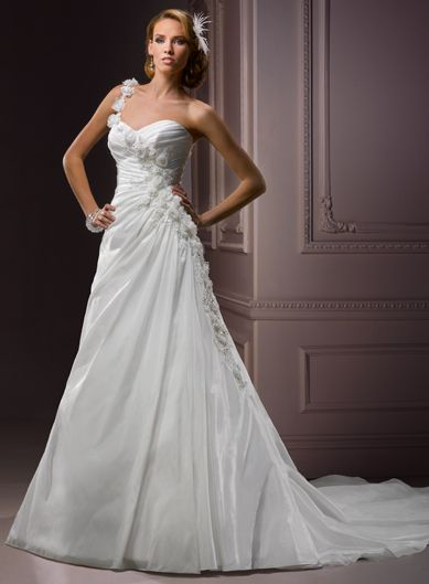 Fashionable One Shoulder Empire waist Taffeta wedding dress