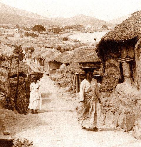 A Rural Street Scene in Old BUSAN (PUSAN) | Photo by HERBERT G. PONTING, 1903.