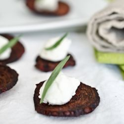 Mini Beet and Goat Cheese Salads on crispy beet chips. The perfect hand-held appetizer for your next party!