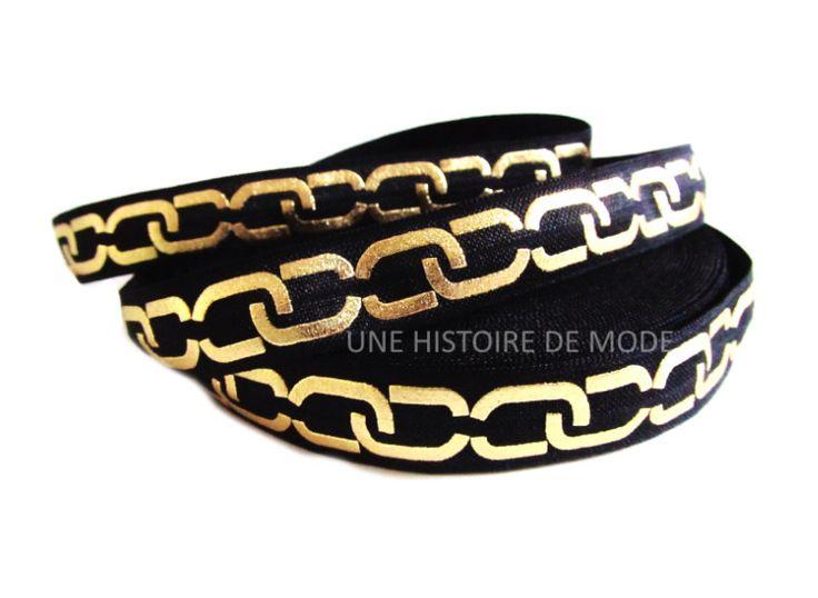 1M de ruban élastique noir imprimé maillons dorés - 15 mm de largeur - ruban stretch maillons anneaux dorés - biais : Rubans par une-histoire-de-mode